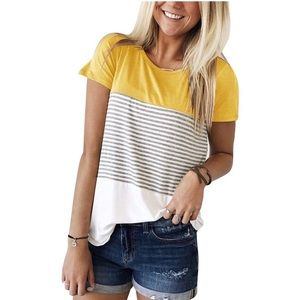 Tops - SOLD Color Block Stripe Casual Loose Fit Tee